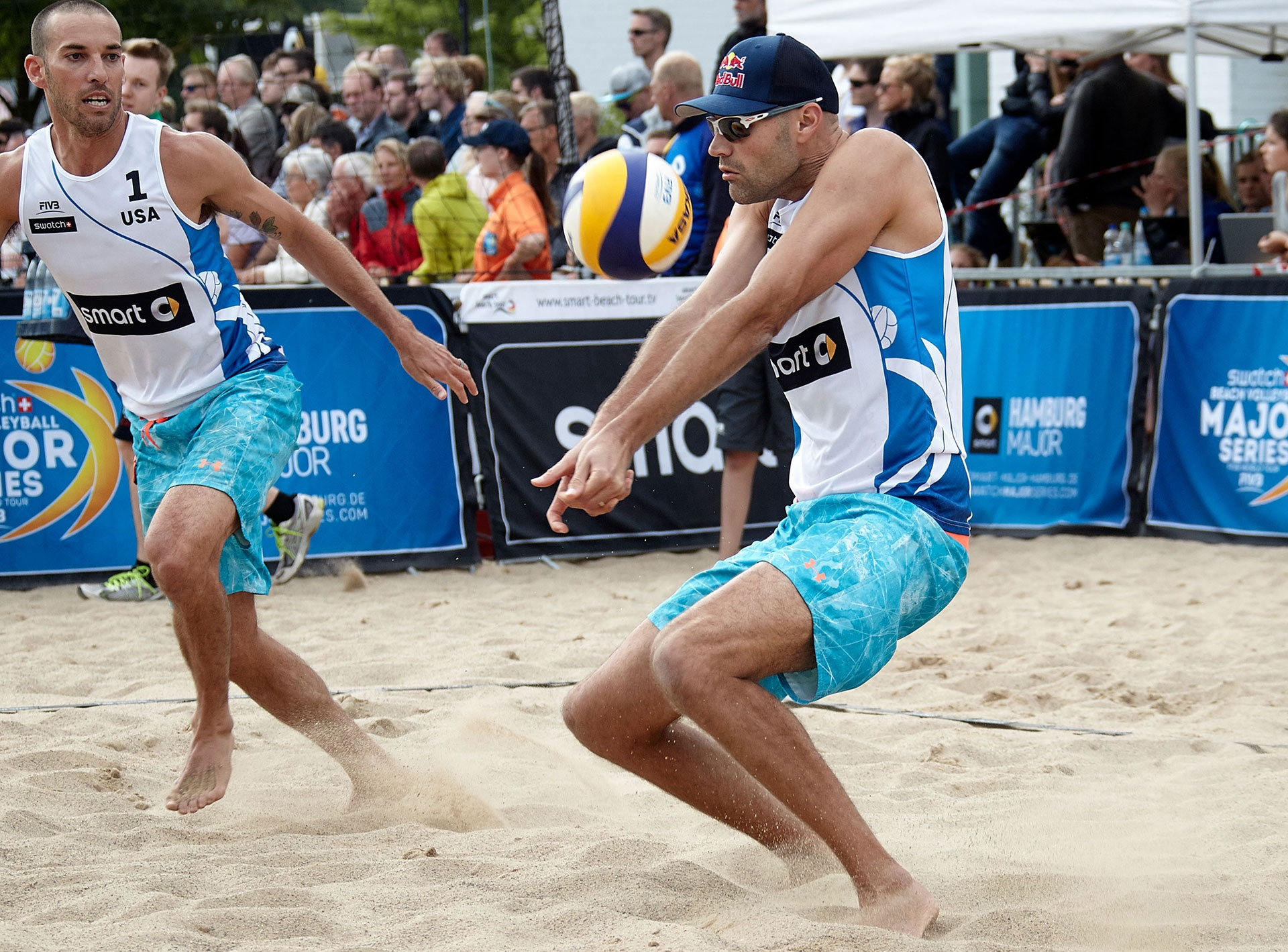Phil Dalhausser and Nick Lucena are in Saturday's quarterfinals! Photocredit: Mike Ranz.