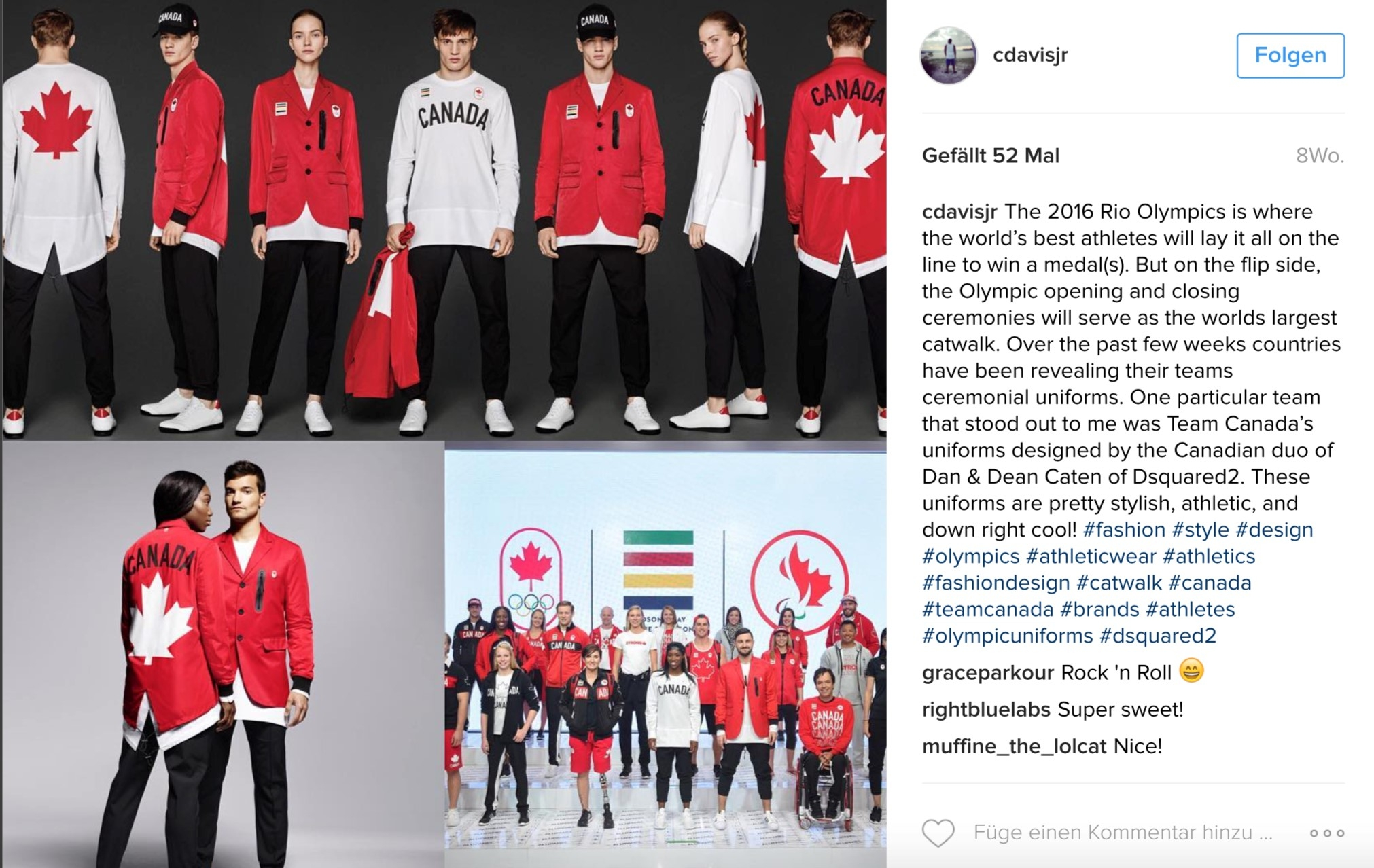 Canada has a lot of red in its uniforms – and it's nice to have red in the flag. Credit: Instagram