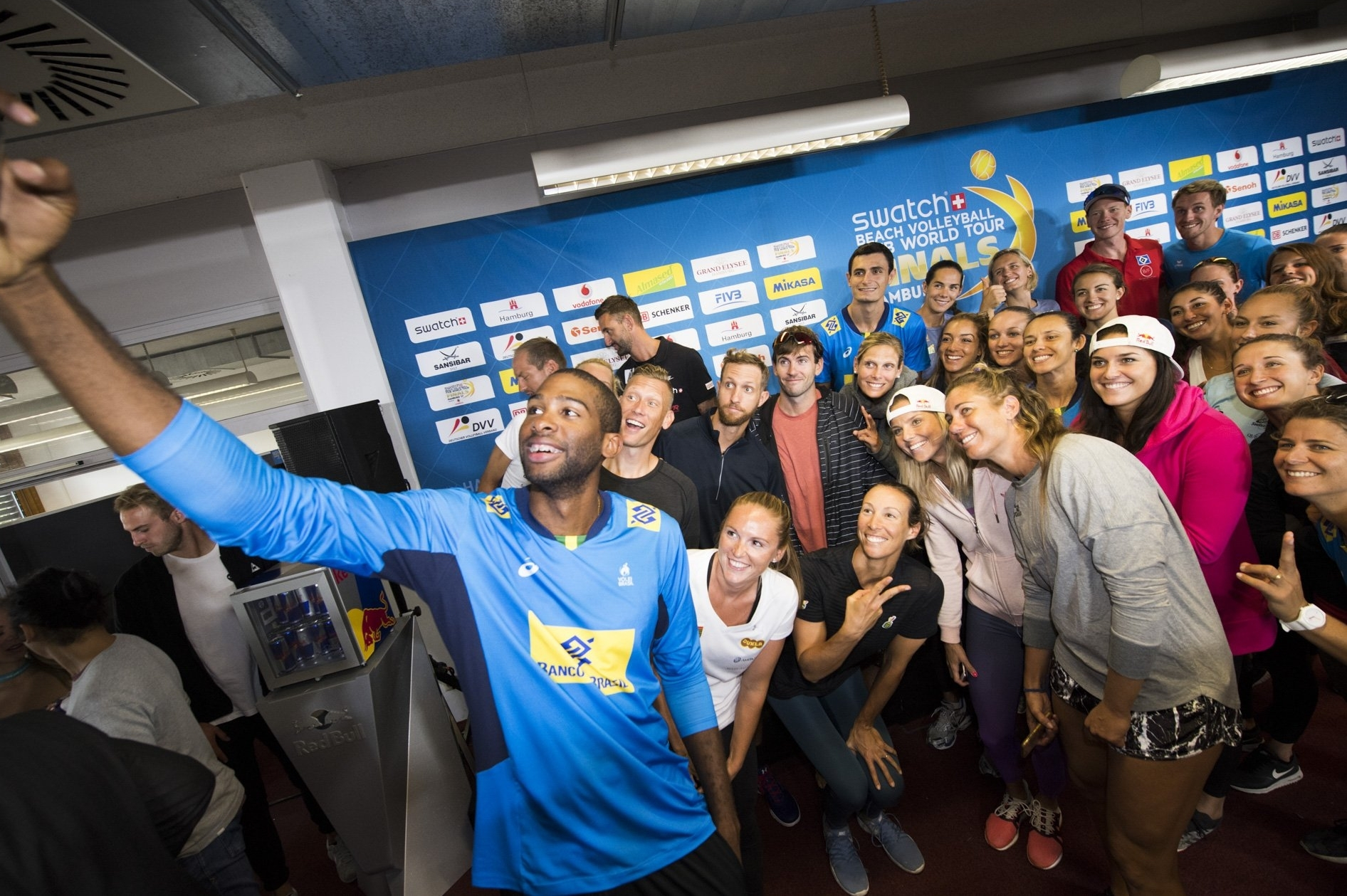 Players gather for a selfie at Tuesday's press conference
