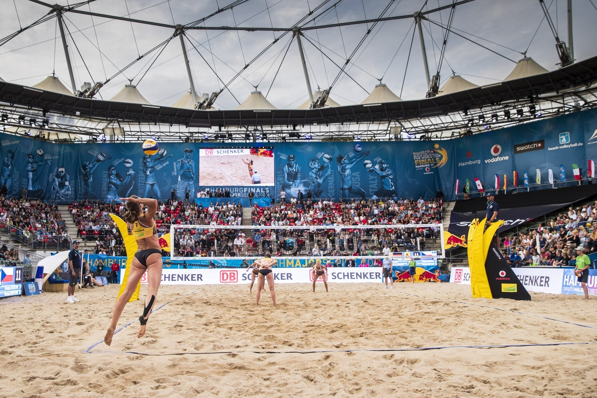 A packed crowd watched Julia and Chantal secure their first victory on home sand