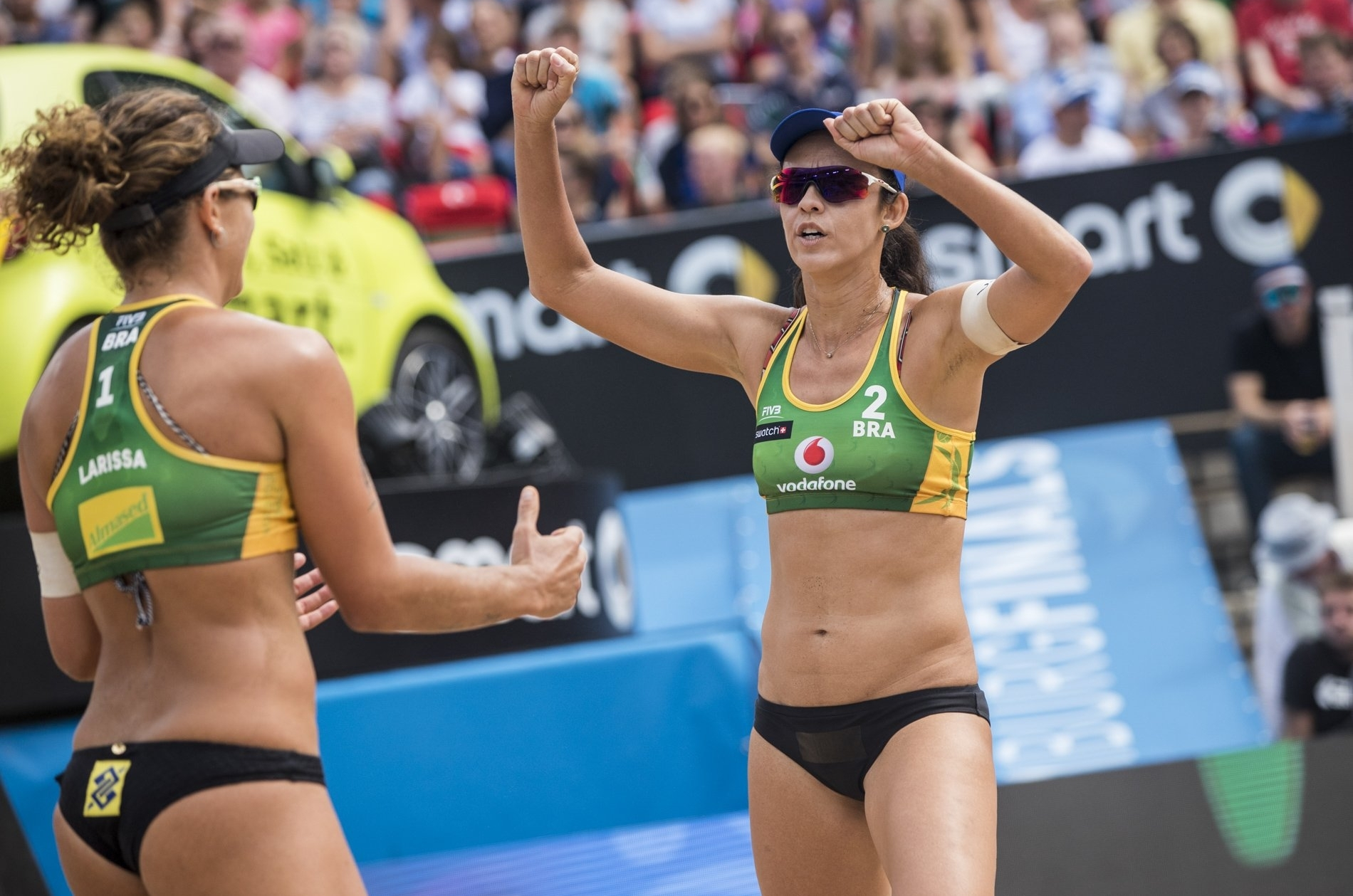 Larissa and Talita celebrate after taking the bronze medal
