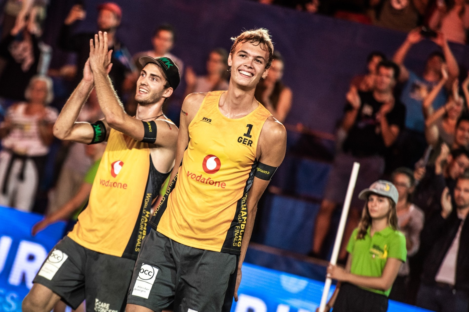 Clemens Wickler (left) and Julius Thole won their first game of the tournament inside the Red Bull Beach Arena