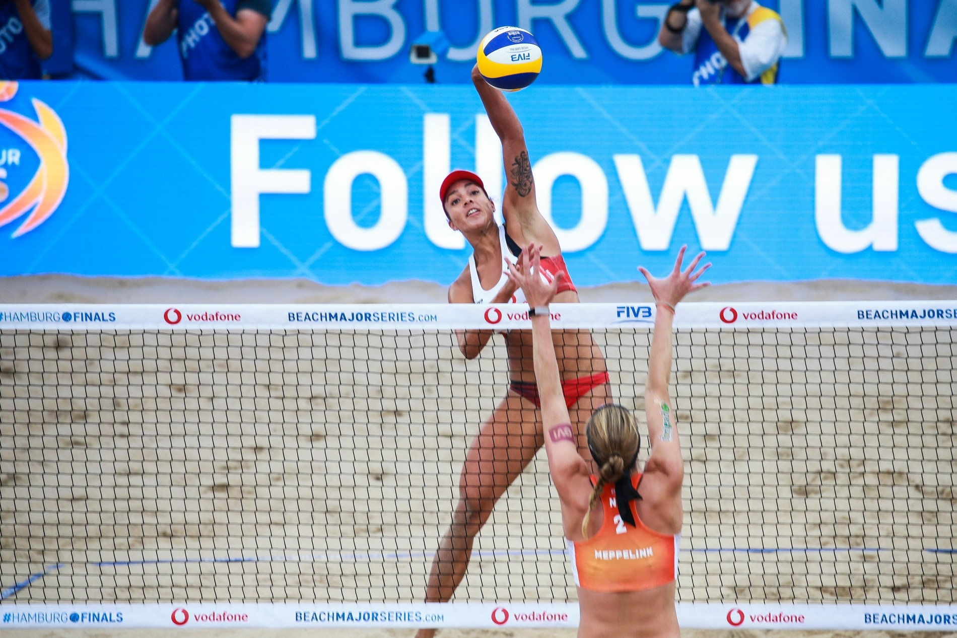 Wilkerson spikes against the Dutch block at the Red Bull Beach Arena