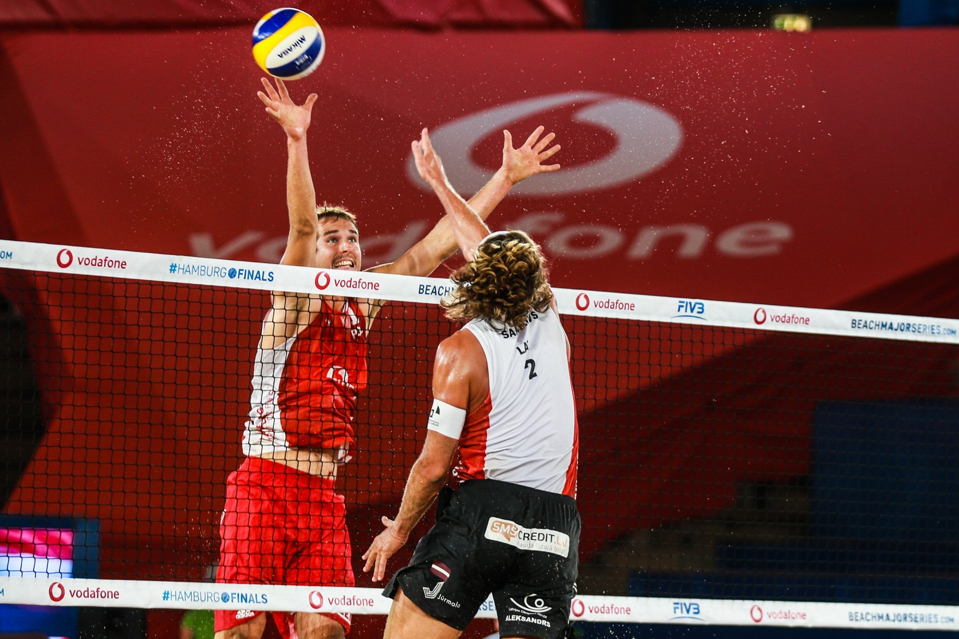 Kantor blocks Samoilovs at the Red Bull Beach Arena